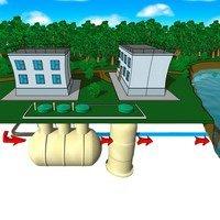 Установка биологической очистки бытовых сточных вод  с нормой отчистки до норм Рыбхоза ЭКО-Р   производительностью 3-1000 м3/сутки.